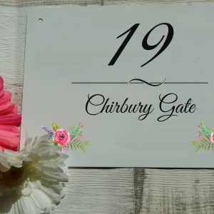 Personalised floral aluminium door sign