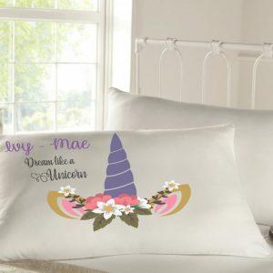 Personalised sleepy head pillow case - unicorn
