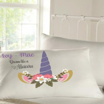 Personalised sleepy head pillow case - unicorn