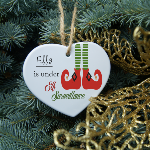 Personalised elf surveillance heart ornament