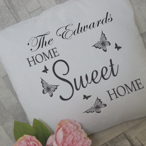 Personalised home sweet home cushion