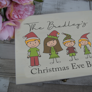 Personalised Family People Christmas Eve Wooden Box