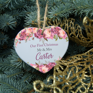 Personalised first christmas as Mr & Mrs heart ornament