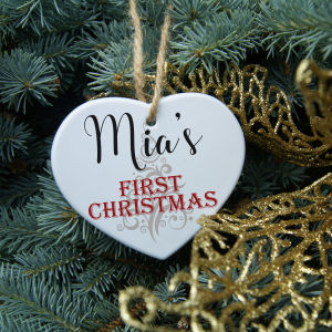 Personalised first christmas heart ornament