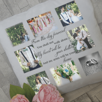 Personalised from this day forward photo cushion