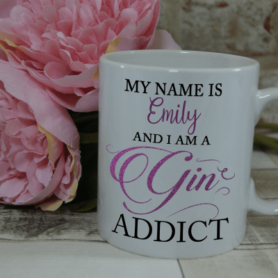 Personalised gin addict mug