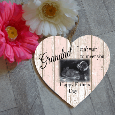 Personalised Fathers Day Baby Scan Wooden Hanging Heart