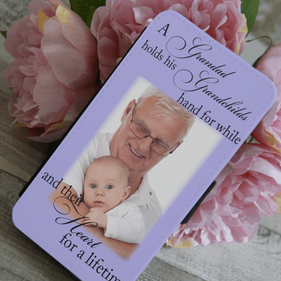 Personalised a grandad holds his grandchilds hand for a while and their heart for a lifetime PU leather phone flip case