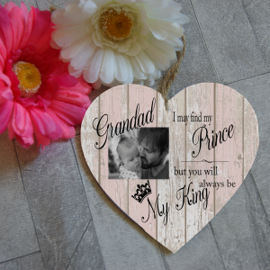 Personalised you will always be my king wooden hanging heart