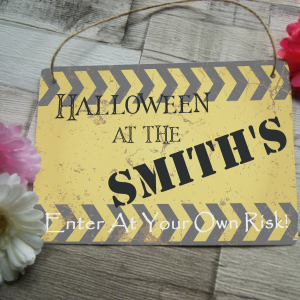 Personalised halloween at the family hanging sign