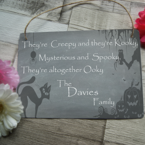 Personalised creepy halloween family hanging sign