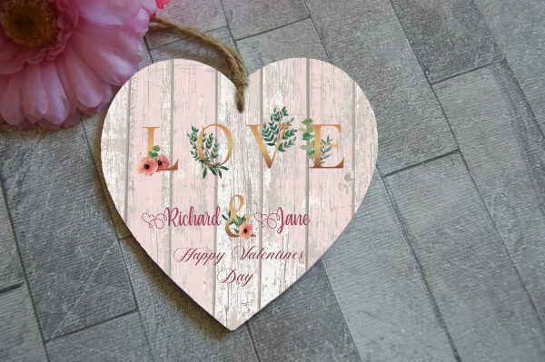 Personalised Love Wooden Hanging Heart
