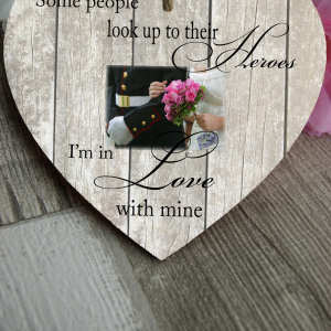 Personalised Some People Look Up To Their Heroes Wooden Hanging Heart