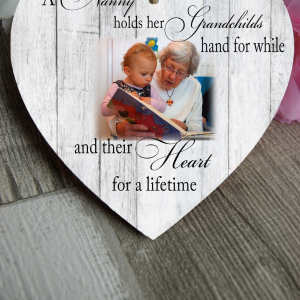 Personalised Holds A Grandchilds Hand Wooden Hanging Heart