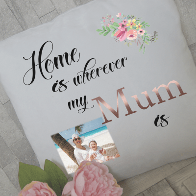 Personalised home is wherever my mum is cushion with rose gold vinyl