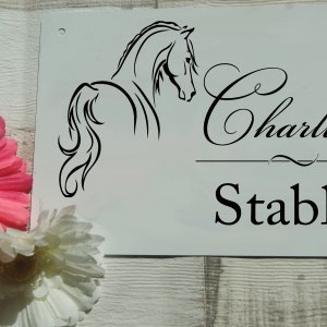 Personalised horse stable aluminium door sign