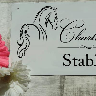 Personalised horse stable aluminium door sign