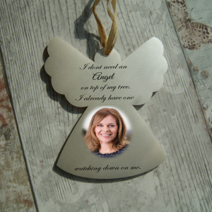 Personalised i dont need an angel on top of my tree photo hanging angel
