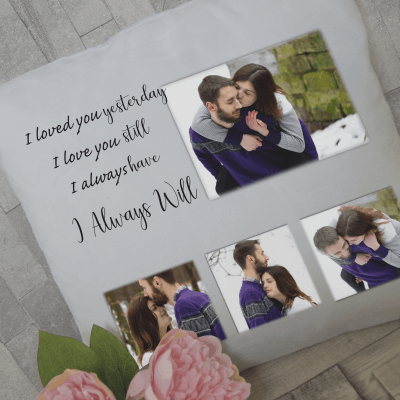 Personalised i loved you yesterday photo cushion