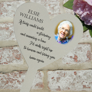 Personalised if tears could build a stairway grave/memorial marker