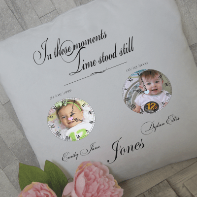 Personalised in these moments time stood still cushion