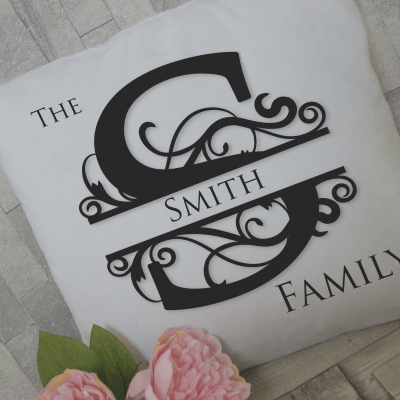 Personalised family initial cushion