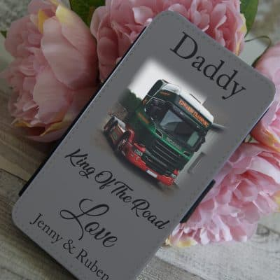 Personalised king of the road PU leather phone flip case