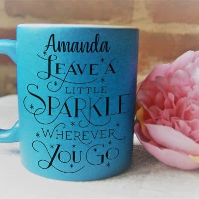 Personalised Leave A Little Sparkle Glitter Mug