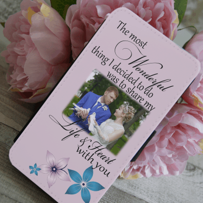 Personalised share my life & heart with you PU leather phone flip case