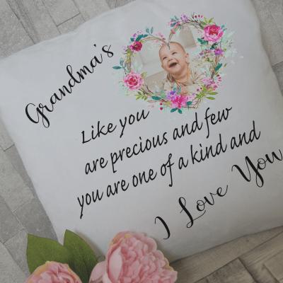 Personalised grandma's like you are precious and few cushion