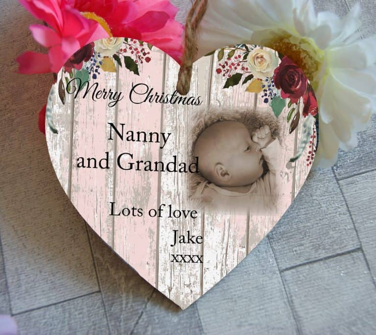 Personalised Merry Christmas Wooden Hanging Heart