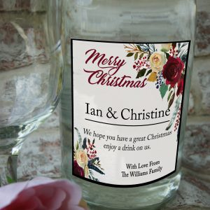 Personalised Merry Christmas wine bottle label
