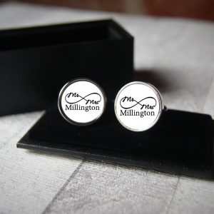 Personalised Mr & Mrs Infinity Cufflinks