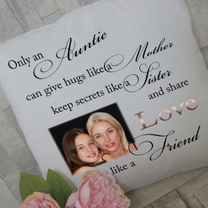 Personalised only an auntie cushion with rose gold vinyl