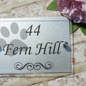 Personalised paw print acrylic door sign