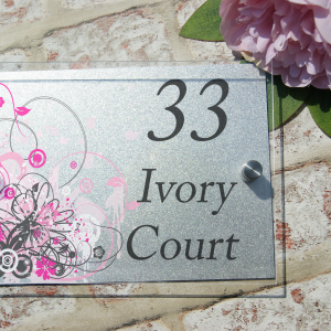 Personalised pink swirl acrylic door sign