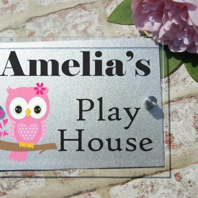Personalised play house acrylic door sign