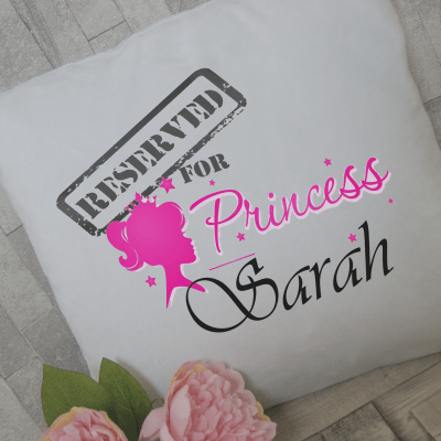 Personalised Reserved for princess cushion