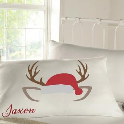 Personalised sleepy head pillow case reindeer