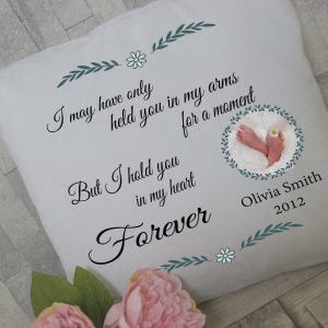 Personalised baby and infant loss remembrance cushion