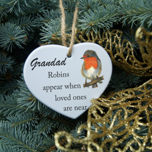 Personalised robins appear when loved ones are near christmas heart ornament