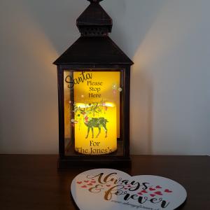 Personalised santa stop here lantern