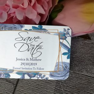 Personalised Aluminium Save The Date Wallet Cards Design 2 (Pack of 25)
