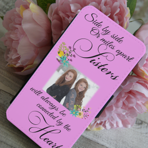 Personalised side by side sisters PU leather phone flip case