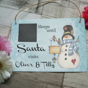 Personalised christmas countdown hanging sign