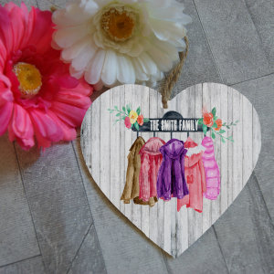 Personalised family coat wooden hanging heart