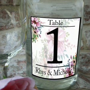 Personalised table number wine bottle label