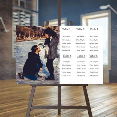 Personalised photo wedding seating plan