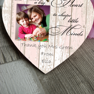 Personalised It Takes A Bit Heart To Shape Little Minds Wooden Hanging Heart