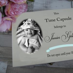 Personalised Time Capsule Ribbon Wooden Keepsake Box